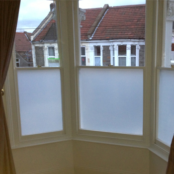 frosted window film in a domestic property